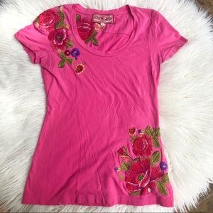 Johnny Was LA Pink Floral Embroidered Tee